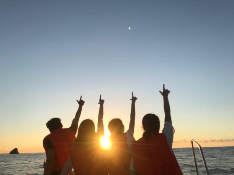 船の上で夕空を・・・